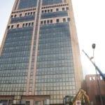 La torre durante le prime fasi delle lavorazioni